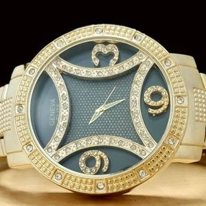 Elite Men's Gold Tone Floating Numbers Watch